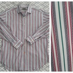 Thomas Dean Button Front Long Sleeve Shirt